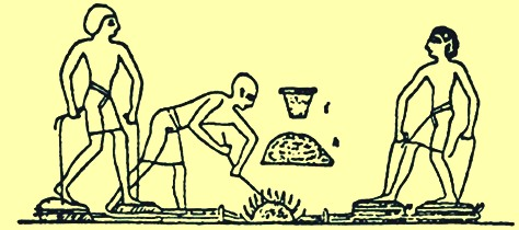 Iron smelting process depicted on egyptian tomb